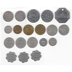 Lot of Nineteen Ontario Due Bill, Bread, Bar and Service Tokens