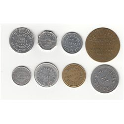 Lot of Eight Ontario Due Bill and Milk Tokens