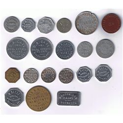 Lot of Twenty Ontario Milk, Pool Hall, Good Luck, Piano, Railway and Due Bill Tokens