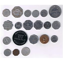 Lot of Twenty Ontario Advertising, Pool Hall, Coffee, Tune, ONA, Railway, Tailor, and Due Bill Token