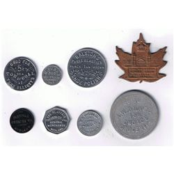 Lot of Eight Ontario Advertising, Good Luck, Bread and Due Bill Tokens