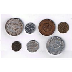 Lot of Seven Ontario Spinner and Due Bill Tokens