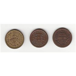 Lot of 3 Civil War Tokens.