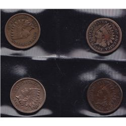 Lot of 4 USA Civil War era Indian Head Pennies.