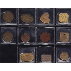 Lot of 11 British Token Maker Salesman Samples.