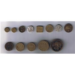 Lot of thirteen possible French Coin Weights.