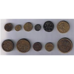 Lot of eleven European Coin Weights.