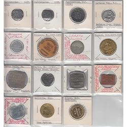 Lot of 15 Communion Tokens & 47 Card Stock Religious Guotes.