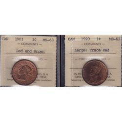 Lot of 2 ICCS Graded One Cents.