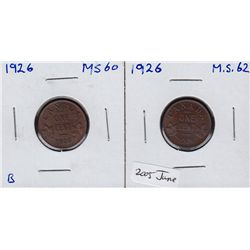 Lot of Two 1926 One Cents.