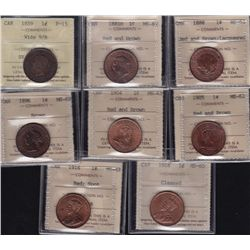 Lot of 8 ICCS Graded Large One Cents.