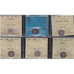 Lot of 6 Graded Small Five Cents.