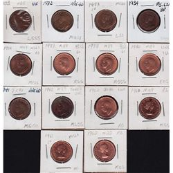 Lot of 14 One Cents.