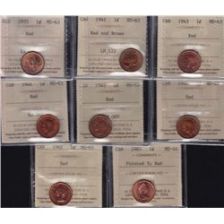 Lot of 8 ICCS Graded One Cents.