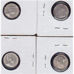 Lot of 4 Five Cent Silvers.