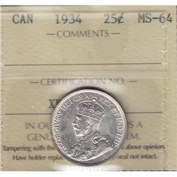 1934 Twenty Five Cent.