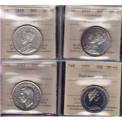 Lot of 4 ICCS Graded Fifty Cents.