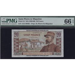 Saint-Pierre & Miquelon 20 Francs.