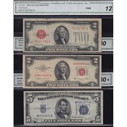 Lot of 8 CGA Graded US Banknotes.