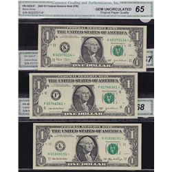 Lot of 10 Modern US CGA Graded GEM $1 & $2 Banknotes.