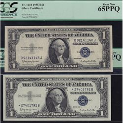 Lot of 5 PCGS Graded USA Silver Certificates.