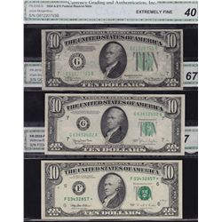 Lot of 3 CGA Graded US $10 Banknotes.