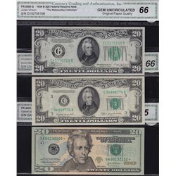 Lot of 3 CGA Graded US $20 Banknotes.