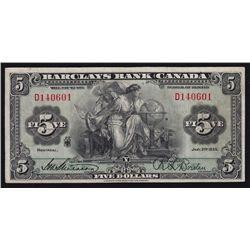 1935 Barclay's Bank $5.