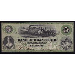 1859 Bank of Brantford $5.