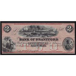 1859 Bank of Brantford $2 Remainder.