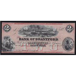 1859 Bank of Brantford $2 with Centre Vignette.