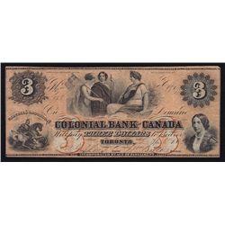 1859 Colonial Bank of Canada $3.
