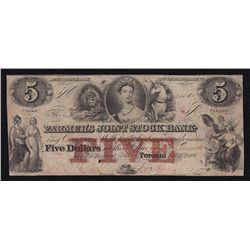 1849 Farmer's Joint Stock Bank $5.