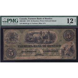 1872 Farmers Bank of Rustico $5.