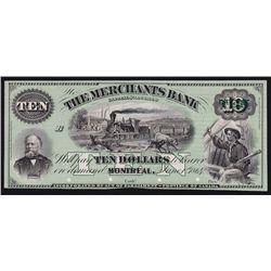 1864 Merchants Bank of Canada $10 Proof.