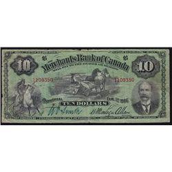 1906 Merchants Bank of Canada $10.