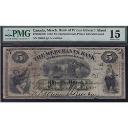 1892 Merchants Bank of Prince Edward Island $5.