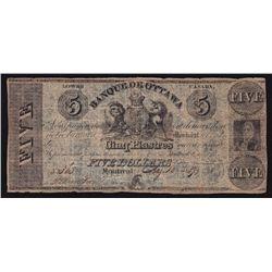 1837 Banque De Ottawa $5.