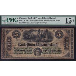 1872 Bank of Prince Edward Island $5.