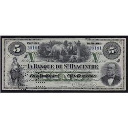 1880 Banque de St. Hyacinthe $5 - Remainder.