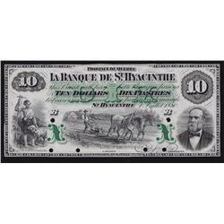 1880 Banque de St. Hyacinthe $10 Proof.