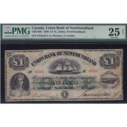 1880 Union Bank of Newfoundland £1.