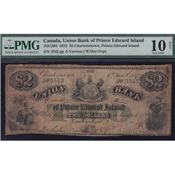 1872 Union Bank of Prince Edward Island $2.