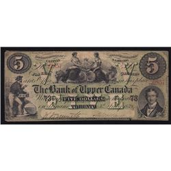 1859 The Bank of Upper Canada $5.
