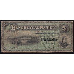 1889 Banque Ville-Marie $5.