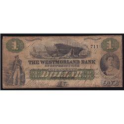 1861 Westmorland Bank of New Brunswick $1.