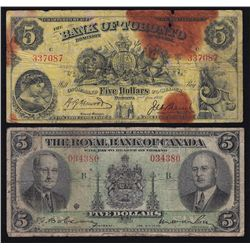 Lot of 2 Chartered Banknotes.