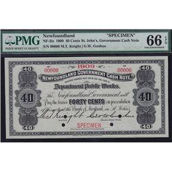 Set of 5, 1909 Newfoundland Government Cash Note Specimens.