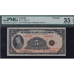 1935 Bank of Canada French $5.