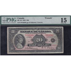 1935 Bank of Canada French $20.